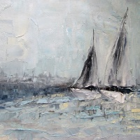 Obraz olejny - jachty - morze - marynistyka.  Wsółczesne obrazy olejne.