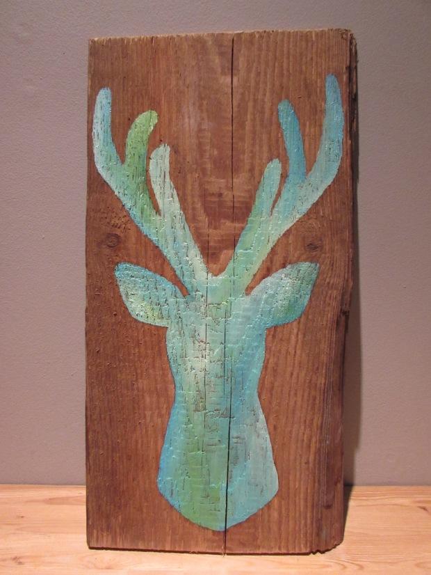 obraz-olejny-jelen-zielono-turkosowy