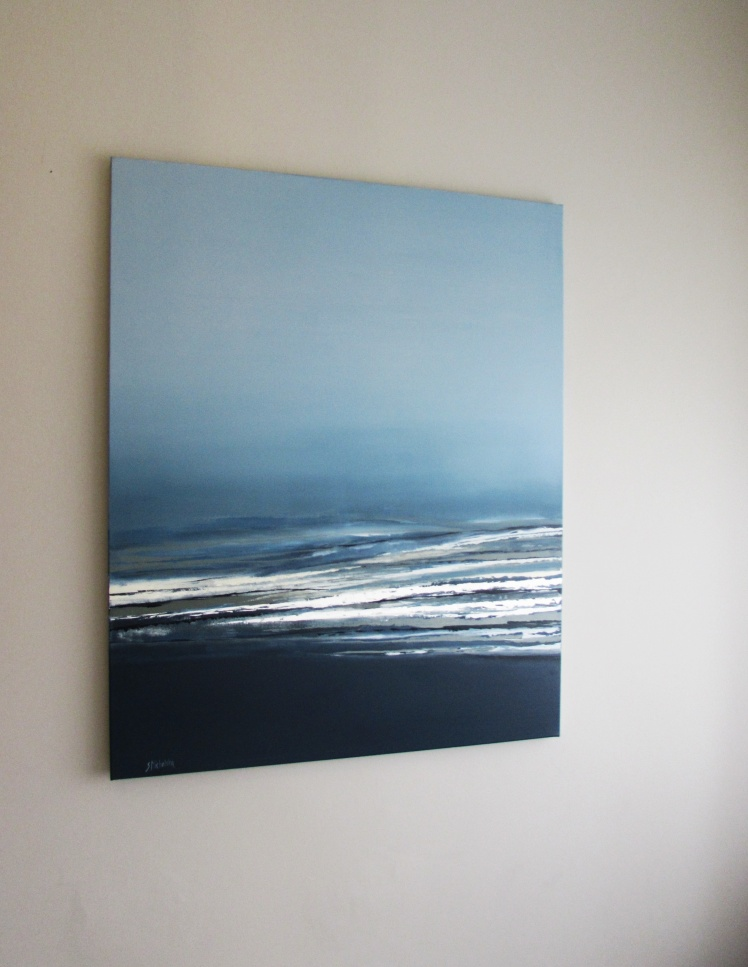 """""""Wzburzone morze"""" abstrakcja 64 sylwia michalska 100x80cm"""