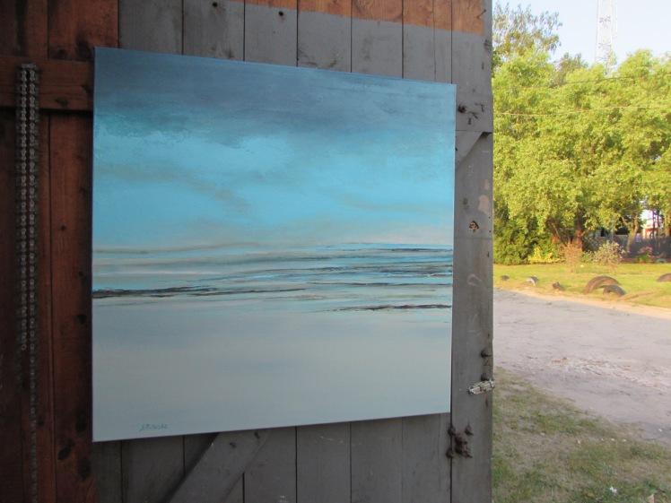 """""""Jeden dzień na plaży"""" abstrakcja 73 sylwia michalska 80x80cm"""