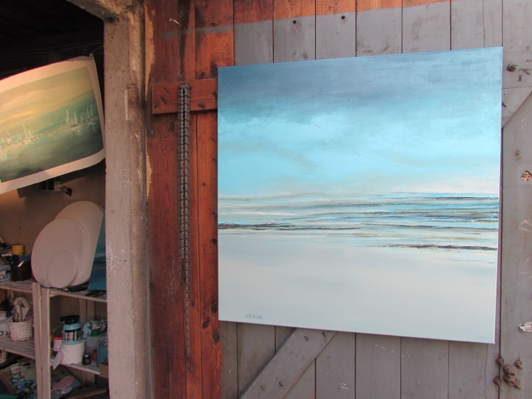 Jeden dzień na plaży abstrakcja 73 sylwia michalska 80x80cm