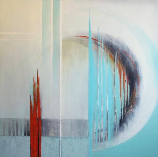 """Orbita"" abstrakcja 79 sylwia michalska 140x140cm"