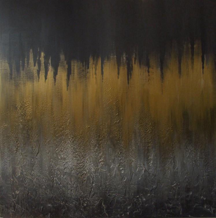 """""""Złote przestrzenie"""" abstrakcja 99 sylwia michalska 100x100cm"""
