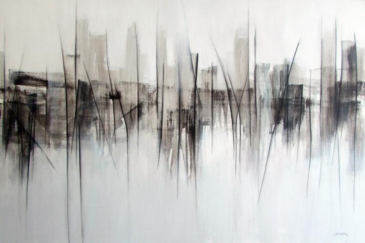 """""""Monochromatyczne miasto"""" abstrakcja 102 sylwia michalska 80x120cm"""