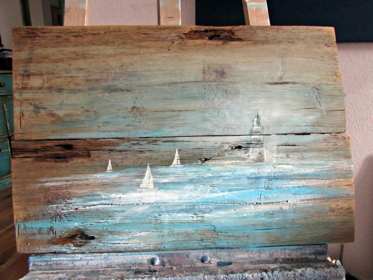 obraz olejny na desce marynistyka 86 sylwia michalska 20x80cm