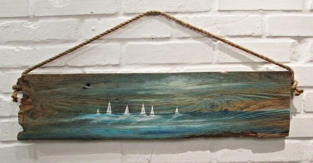 obraz olejny na desce marynistyka 84 sylwia michalska 20x80cm
