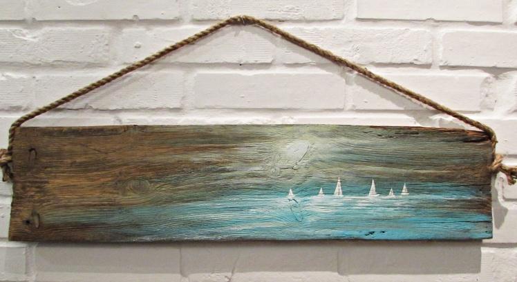 obraz olejny na desce marynistyka 85 sylwia michalska 20x80cm