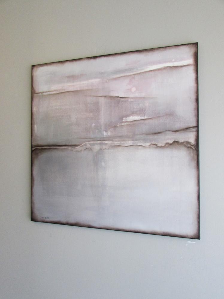"""""""Różowy pejzaż"""" abstrakcja 116 sylwia michalska 70x70cm"""