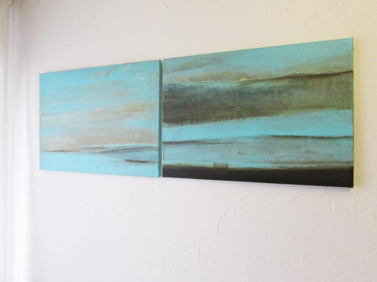 """""""Dyptyk turkusowy"""" abstrakcja 115 sylwia michalska 2x50x70cm"""