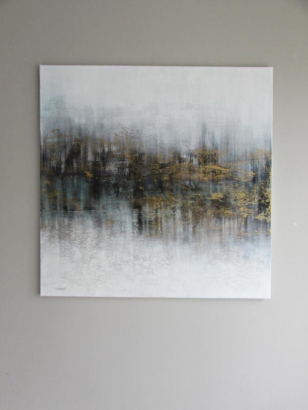 """""""Złoty kurz"""" abstrakcja 137 sylwia michalska 80x80cm"""