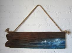 DOSTĘPNY 118 marynistyka obraz olejny na desce sylwia michalska 20x70cm
