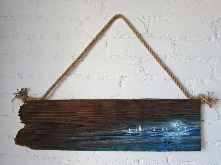 118 marynistyka obraz olejny na desce sylwia michalska 20x70cm