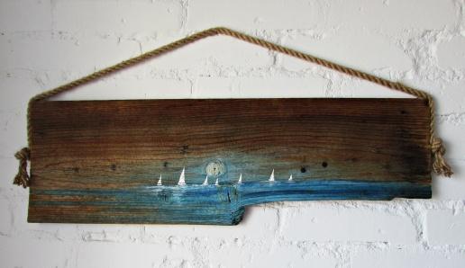 DOSTĘPNY 117 marynistyka obraz olejny na desce sylwia michalska 23x75cm