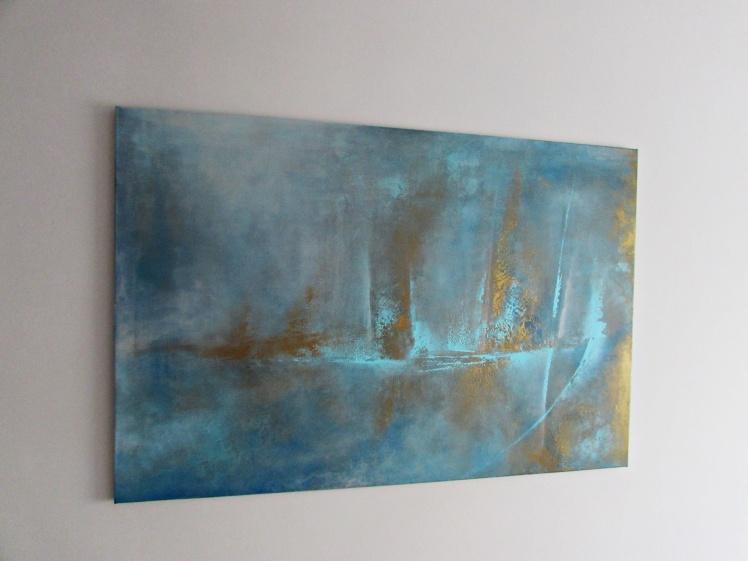 """""""Chcę zobaczyć świat ze złota"""" abstrakcja  149 sylwia michalska 80x120cm"""