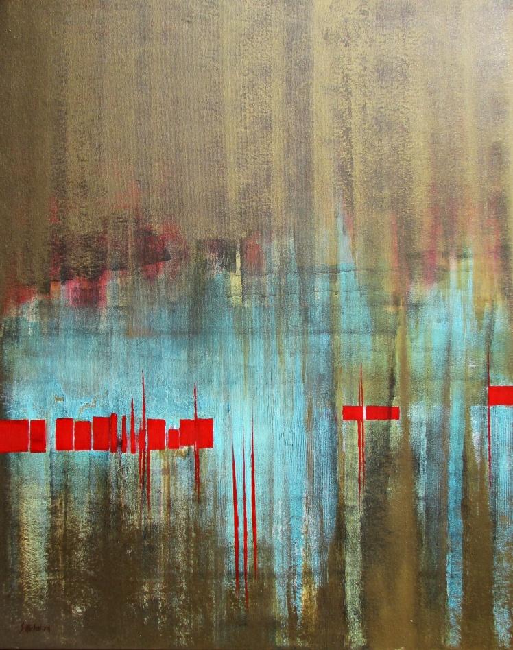 """""""Wyspy miłości"""" abstrakcja 152 sylwia michalska 100x80cm"""