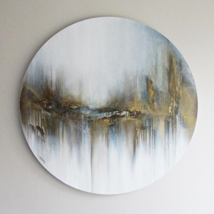 """""""Nad rzeką wspomnień"""" abstrakcja 158 sylwia michalska śr.80cm"""