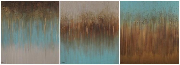 """""""Rdzawe drzewa"""" abstrakcja 171 sylwia michalska tryptyk 60x60cm"""