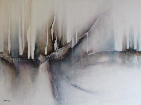 """DOSTĘPNY """"Zimowe mgły"""" abstrakcja 177 sylwia michalska 60x80cm"""