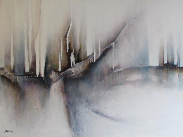 """""""Zimowe mgły"""" abstrakcja 177 sylwia michalska 60x80cm"""