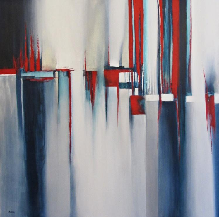 """""""Kontrastowe postrzeganie rzeczywistości I"""" abstrakcja 179 sylwia michalska 120x120cm"""