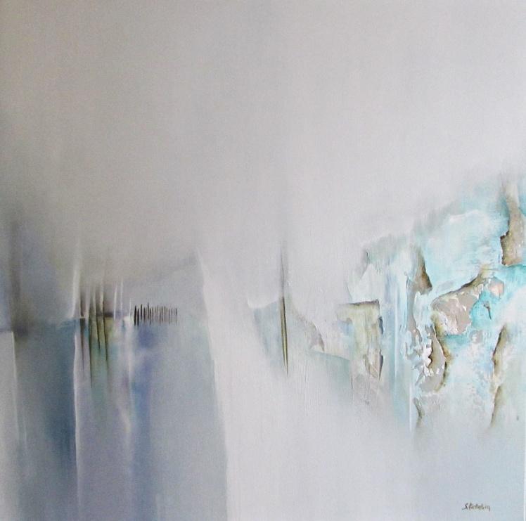 """""""Zimowe przestrzenie"""" abstrakcja 175 sylwia michalska 80x80cm"""