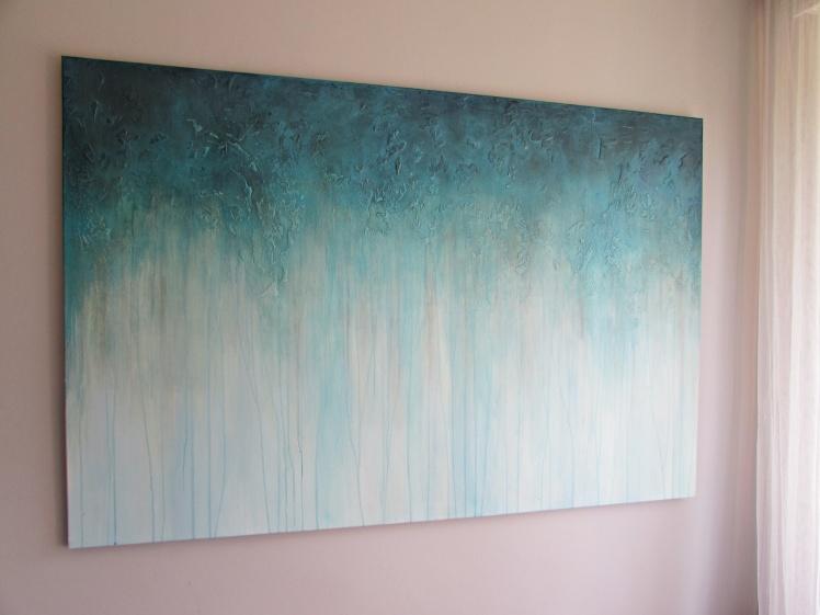 """""""W błękicie"""" abstrakcja 197 sylwia michalska 100x150cm"""
