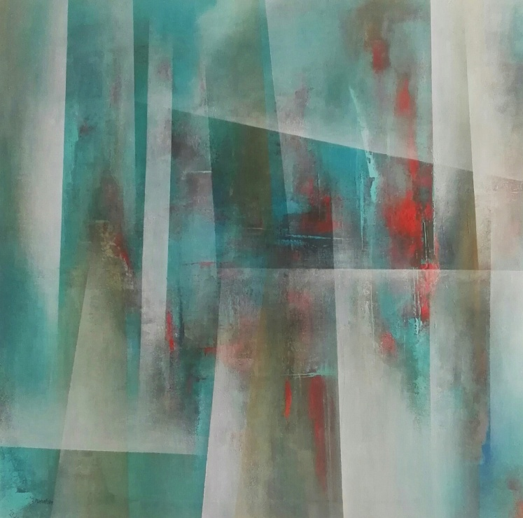 """""""Fragmenty szczęścia"""" abstrakcja 200 sylwia michalska 100x100cm"""