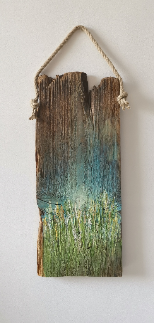 obrazy olejne na drewnie 13 50x20cm